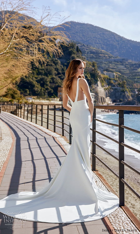 ines ines di santo spring 2022 bridal sleeveless thick straps v neckline clean minimalist sheath wedding dress chapel train (7) bv