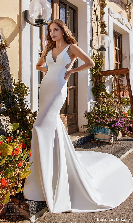 ines ines di santo spring 2022 bridal sleeveless thick straps v neckline clean minimalist sheath wedding dress chapel train (7) mv