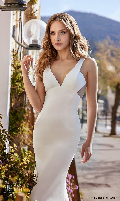 ines ines di santo spring 2022 bridal sleeveless thick straps v neckline clean minimalist sheath wedding dress chapel train (7) zv