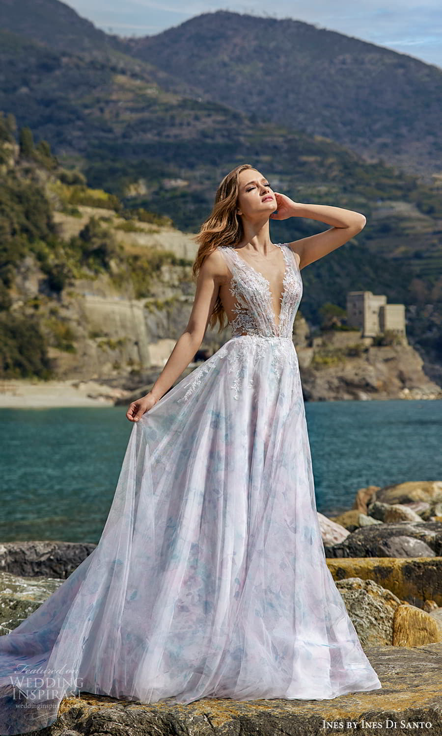 ines ines di santo spring 2022 bridal sleeveless thick straps v neckline ruched embellished bodice print skirt a line wedding dress multicolor chapel train (12) mv