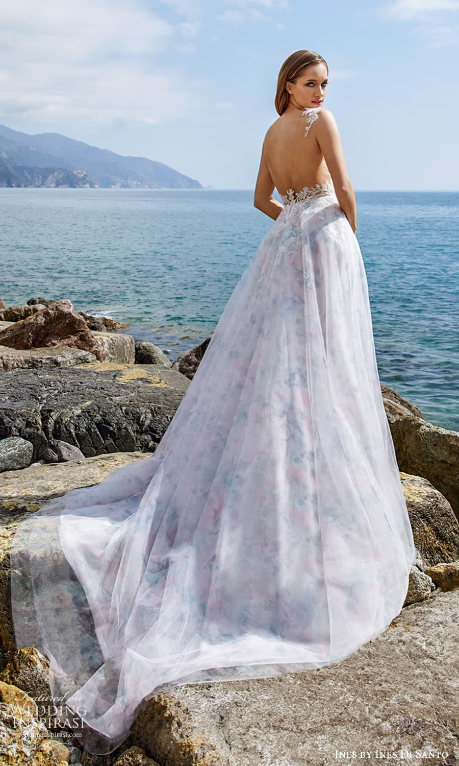 ines ines di santo spring 2022 bridal sleeveless thick straps v neckline ruched embellished bodice print skirt a line wedding dress multicolor chapel train sheeer back (12) bv