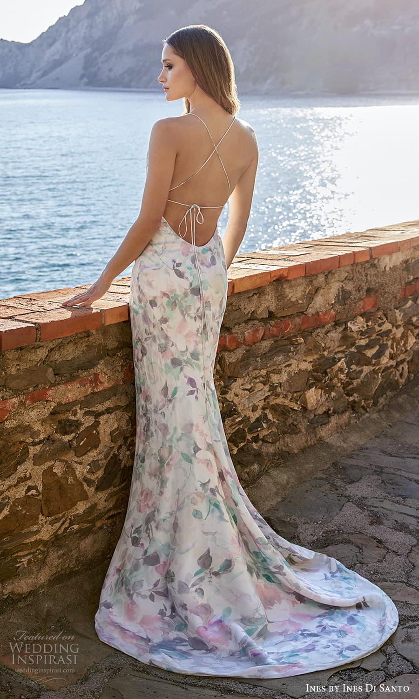 ines ines di santo spring 2022 bridal sleeveless thin straps cowl neckline printed multicolor sheath wedding dress sweep train open back (8) bv