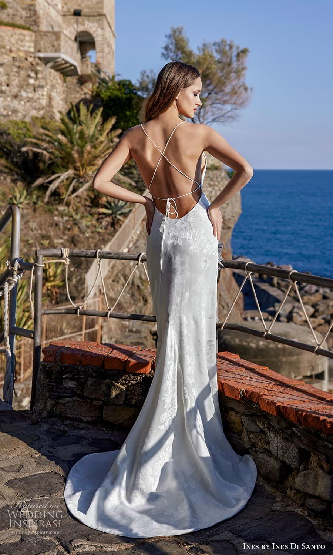 ines ines di santo spring 2022 bridal sleeveless thin straps cowl neckline textured sheath wedding dress sweep train open back (7) bv