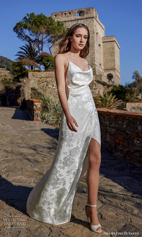 ines ines di santo spring 2022 bridal sleeveless thin straps cowl neckline textured sheath wedding dress sweep train open back (7) mv