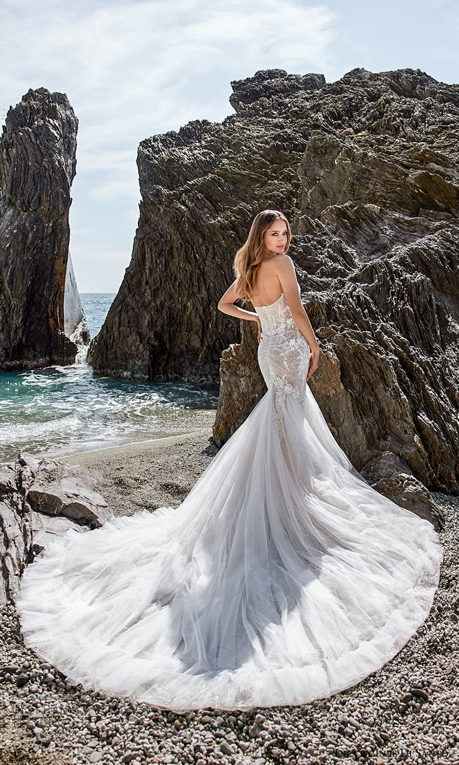 ines ines di santo spring 2022 bridal strapless sweetheart neckline embellished bodice fit flare mermaid wedding drss chapel train (6) bv