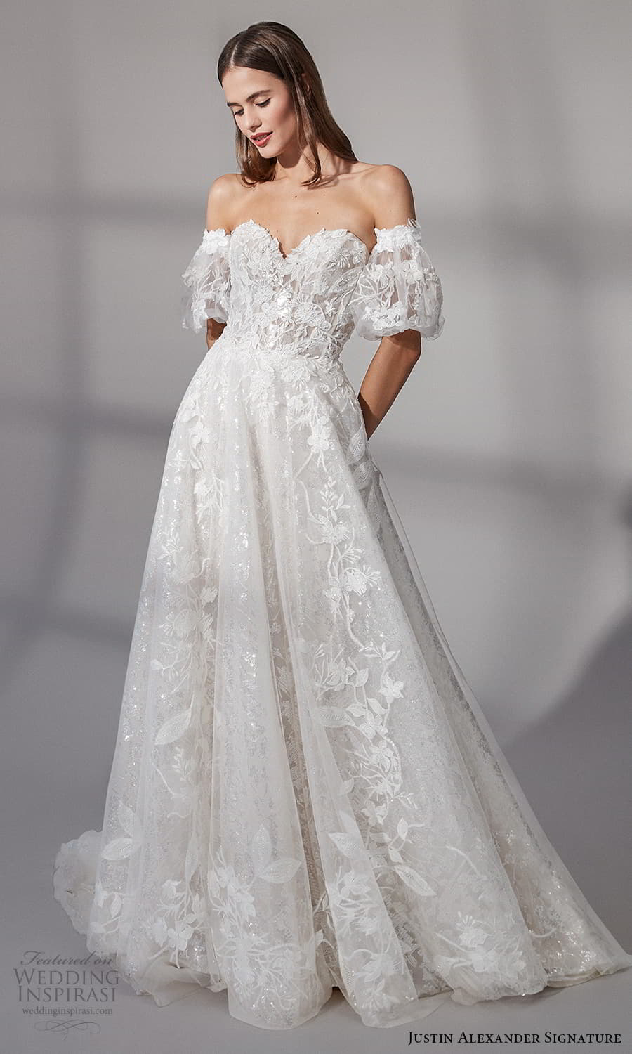 justin alexander signature fall 2021 bridal detached short puff sleeves strapless sweetheart neckline fully embellished a line ball gown wedding dress chapel train (14) mv