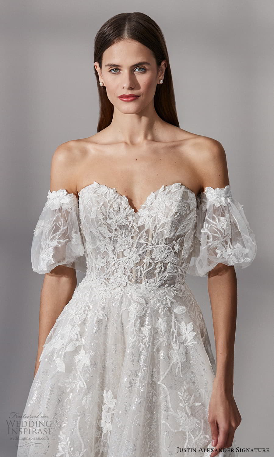 justin alexander signature fall 2021 bridal detached short puff sleeves strapless sweetheart neckline fully embellished a line ball gown wedding dress chapel train (14) zv