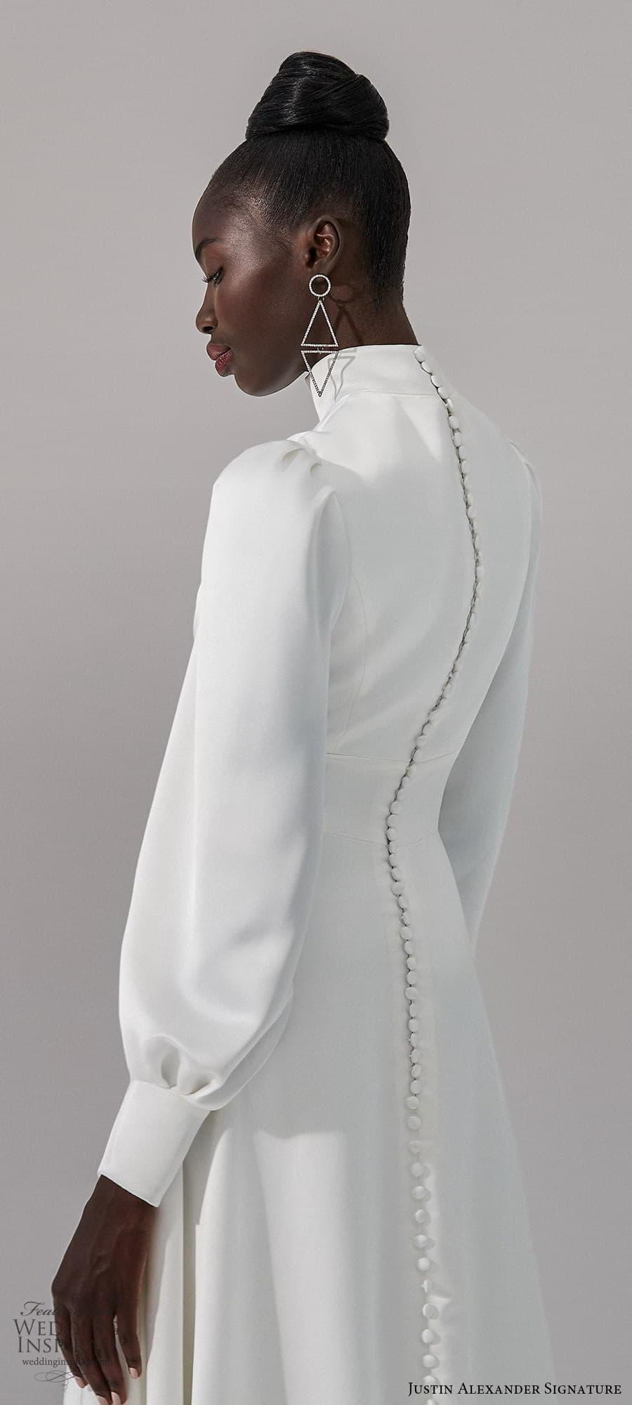 justin alexander signature fall 2021 bridal long bishop sleeves high neckline clean minimalist a line wedding dress chapel train (5) zbv