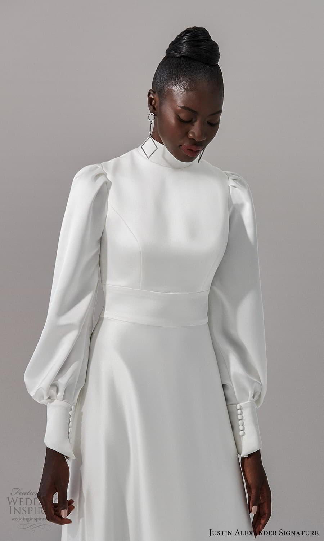 justin alexander signature fall 2021 bridal long bishop sleeves high neckline clean minimalist a line wedding dress chapel train (5) zv