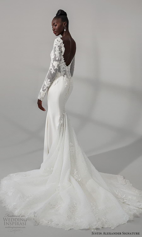 justin alexander signature fall 2021 bridal long sleeve v neckline heavily embellished bodice clean skirt sheath wedding dress chapel train (7) bv