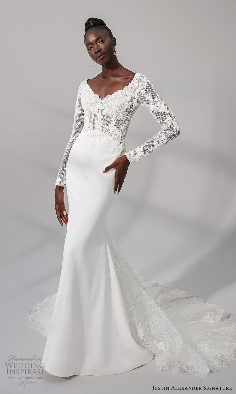 justin alexander signature fall 2021 bridal long sleeve v neckline heavily embellished bodice clean skirt sheath wedding dress chapel train (7) mv
