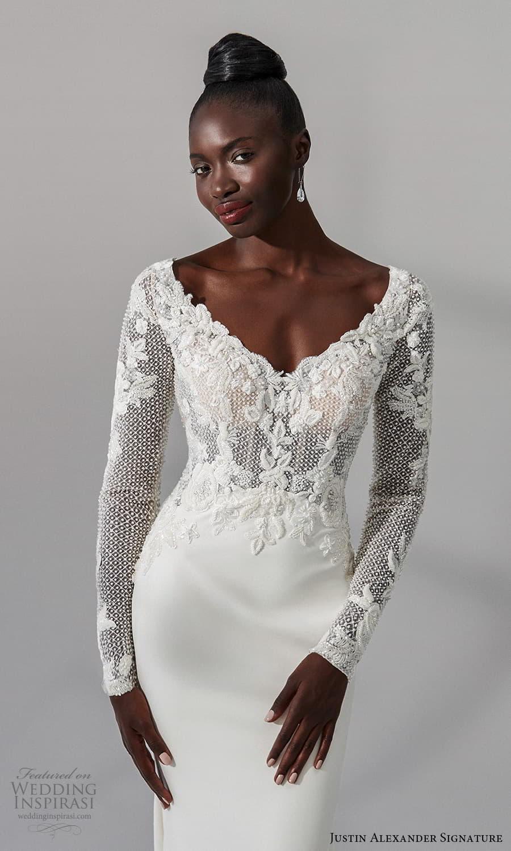 justin alexander signature fall 2021 bridal long sleeve v neckline heavily embellished bodice clean skirt sheath wedding dress chapel train (7) zv