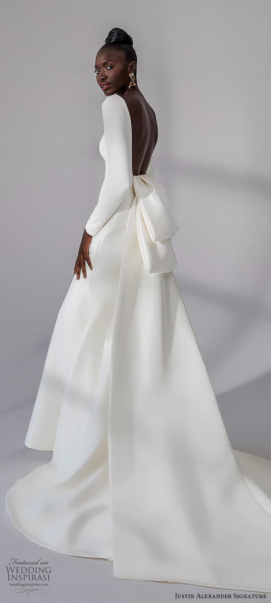 justin alexander signature fall 2021 bridal long sleeves bateau neckline clean minimalist sheath wedding dress (15) bv