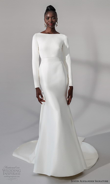 justin alexander signature fall 2021 bridal long sleeves bateau neckline clean minimalist sheath wedding dress (15) mv