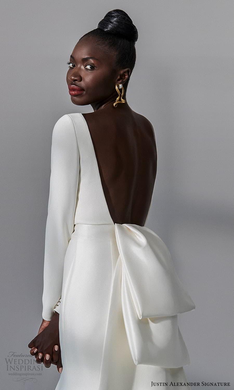 justin alexander signature fall 2021 bridal long sleeves bateau neckline clean minimalist sheath wedding dress (15) zbv