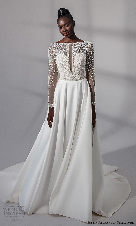 justin alexander signature fall 2021 bridal long sleeves bateau neckline embellished bodice clean skirt a line wedding dress chapel train (20) mv