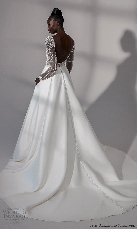 justin alexander signature fall 2021 bridal long sleeves bateau neckline embellished bodice clean skirt a line wedding dress chapel train low back (20) bv