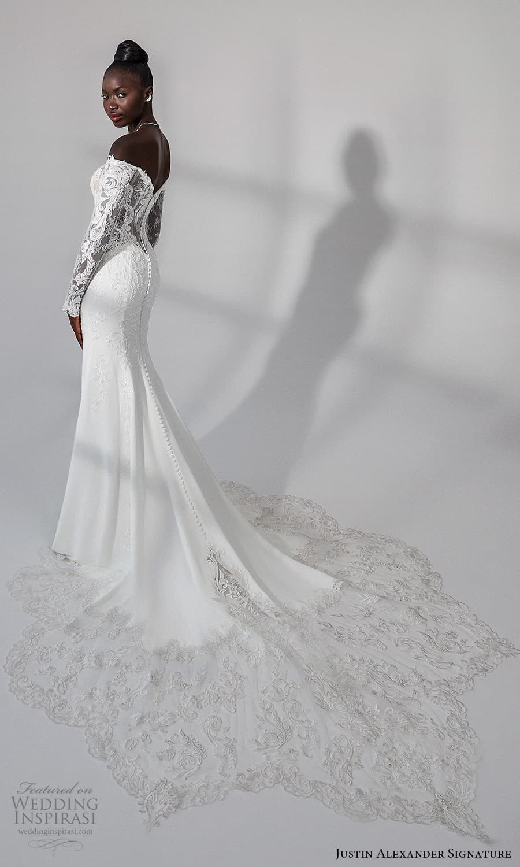 justin alexander signature fall 2021 bridal long sleeves off shoulder neckline embellished lace bodce clean skirt sheath wedding dress chapel train (11) bv
