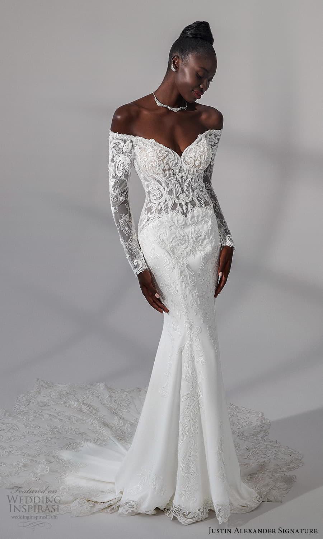 justin alexander signature fall 2021 bridal long sleeves off shoulder neckline embellished lace bodce clean skirt sheath wedding dress chapel train (11) mv