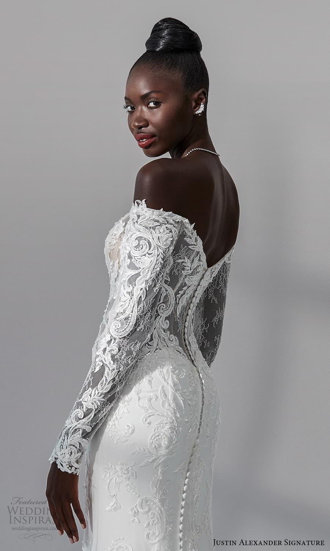 justin alexander signature fall 2021 bridal long sleeves off shoulder neckline embellished lace bodce clean skirt sheath wedding dress chapel train (11) zbv