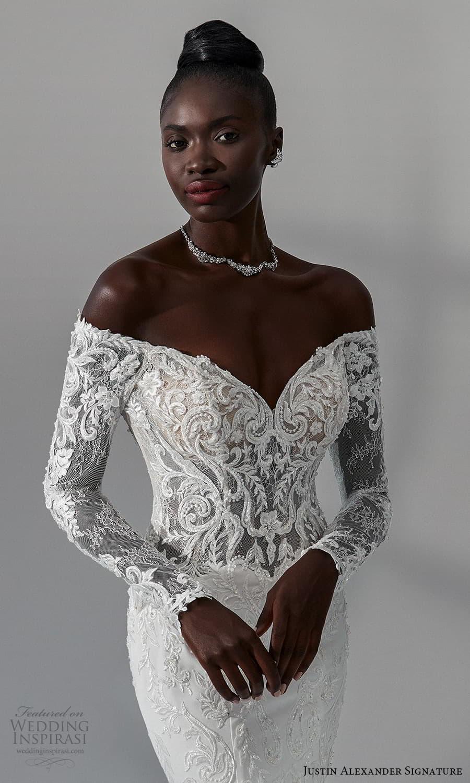 justin alexander signature fall 2021 bridal long sleeves off shoulder neckline embellished lace bodce clean skirt sheath wedding dress chapel train (11) zv