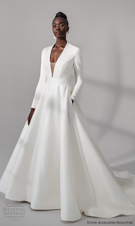 justin alexander signature fall 2021 bridal long sleeves plunging v neckline clean minimalist a line vball gown wedding dress chapel train (9) mv