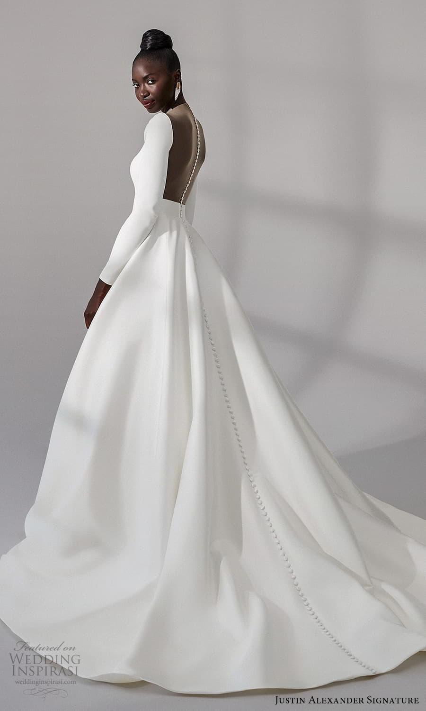 justin alexander signature fall 2021 bridal long sleeves plunging v neckline clean minimalist a line vball gown wedding dress chapel train (9) sv