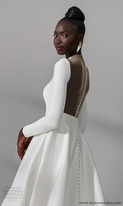 justin alexander signature fall 2021 bridal long sleeves plunging v neckline clean minimalist a line vball gown wedding dress chapel train (9) zbv