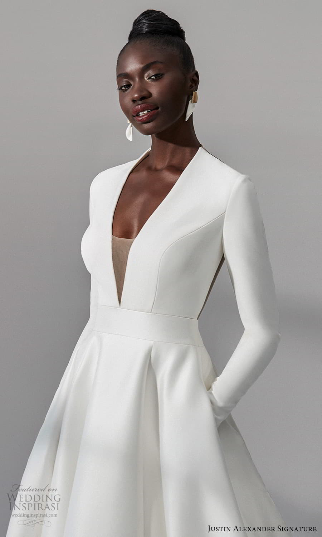 justin alexander signature fall 2021 bridal long sleeves plunging v neckline clean minimalist a line vball gown wedding dress chapel train (9) zv