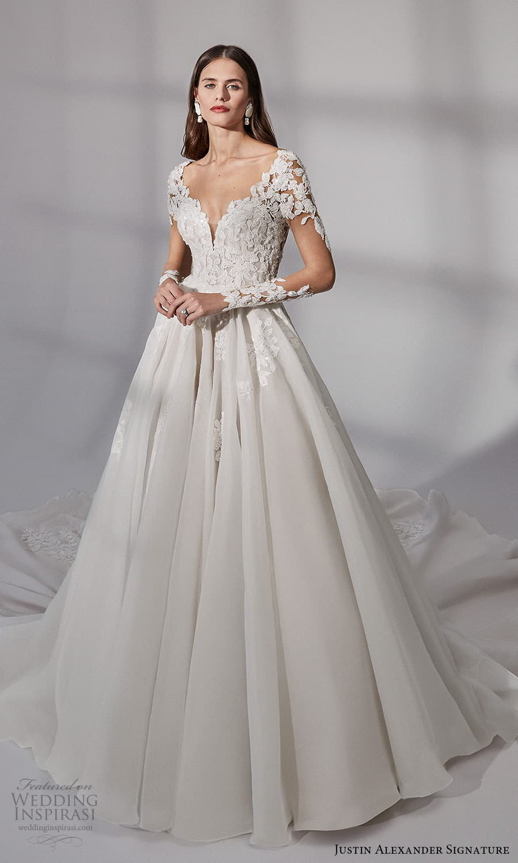 justin alexander signature fall 2021 bridal long sleeves v neckline embellished bodice a line ball gown wedding dress chapel train (12) mv