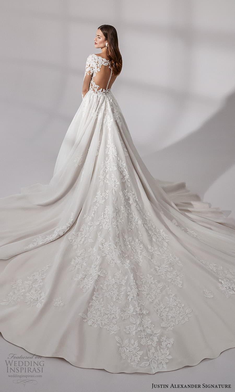 justin alexander signature fall 2021 bridal long sleeves v neckline embellished bodice a line ball gown wedding dress chapel train sheer back (12) bv