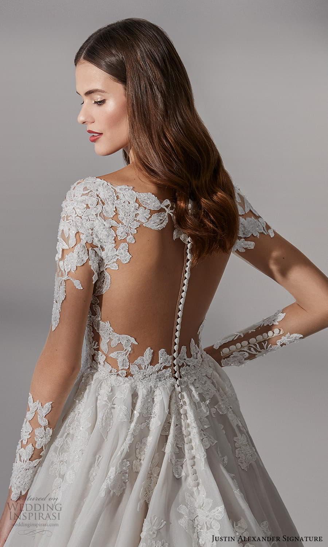 justin alexander signature fall 2021 bridal long sleeves v neckline embellished bodice a line ball gown wedding dress chapel train sheer back (12) zbv
