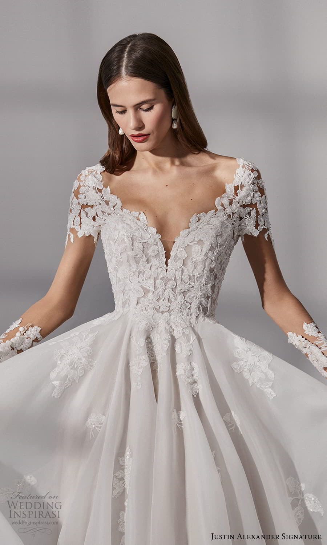justin alexander signature fall 2021 bridal long sleeves v neckline embellished bodice a line ball gown wedding dress chapel train sheer back (12) zv