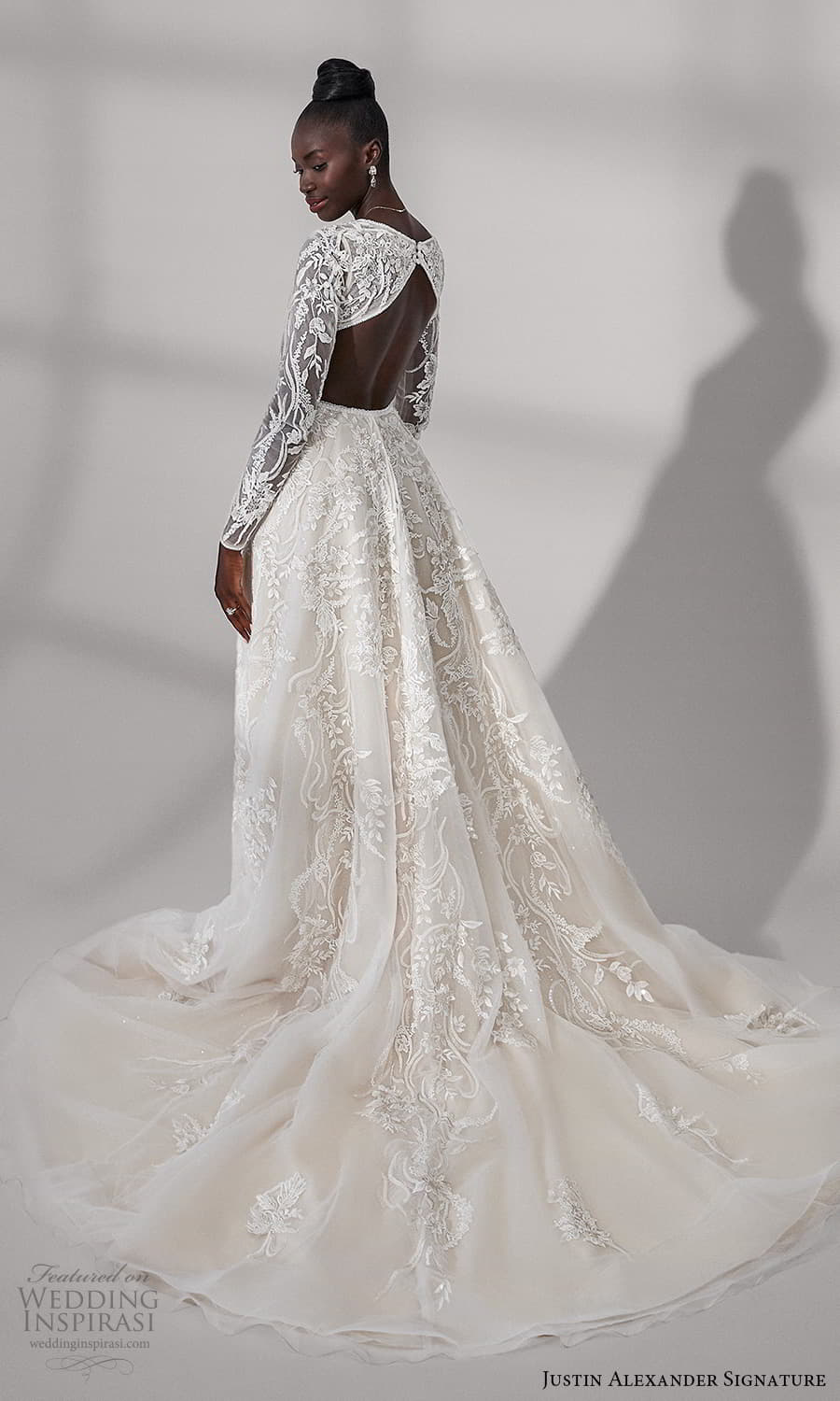 justin alexander signature fall 2021 bridal long sleeves v neckline fully embellished lace a line ball gown wedding dress cutout back chapel train (1) bv