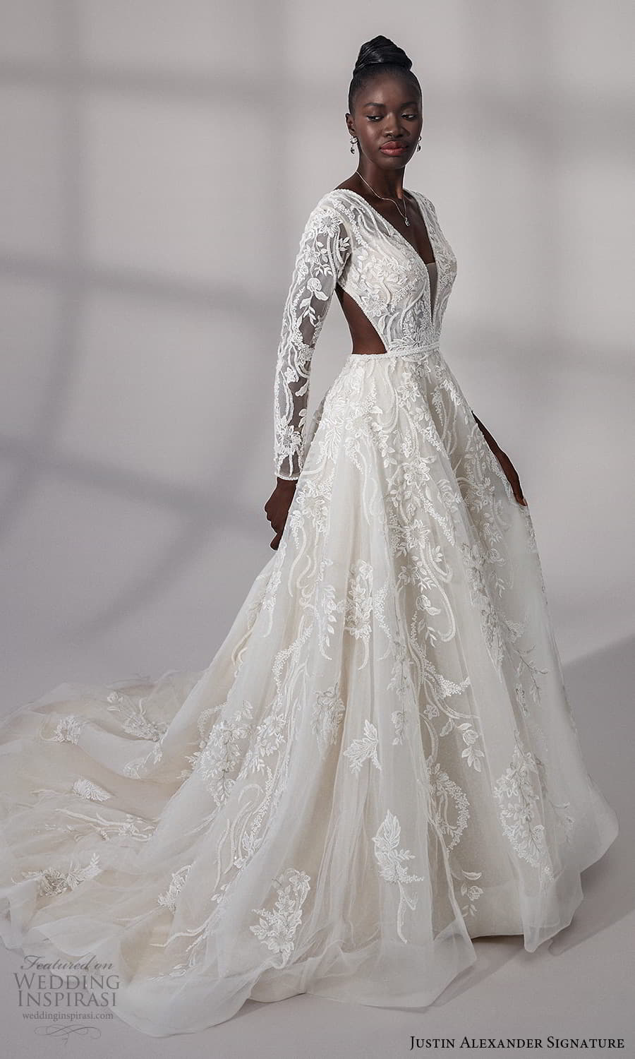 justin alexander signature fall 2021 bridal long sleeves v neckline fully embellished lace a line ball gown wedding dress cutout back chapel train (1) mv