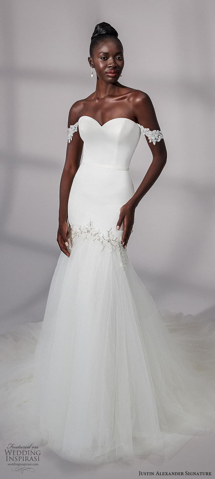 justin alexander signature fall 2021 bridal off shoulder straps sweetheart neckline clean minimalist fit flare mermaid wedding dress chapel train (18) mv