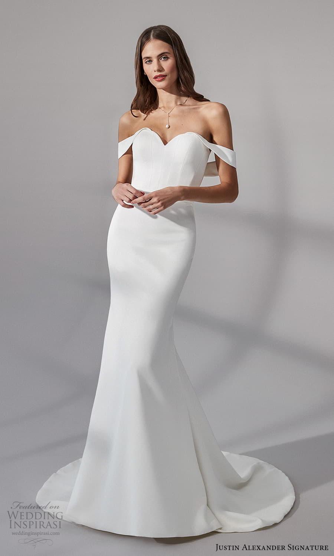 justin alexander signature fall 2021 bridal off shoulder straps sweetheart neckline clean minimalist sheath wedding dress chapel train (8) mv