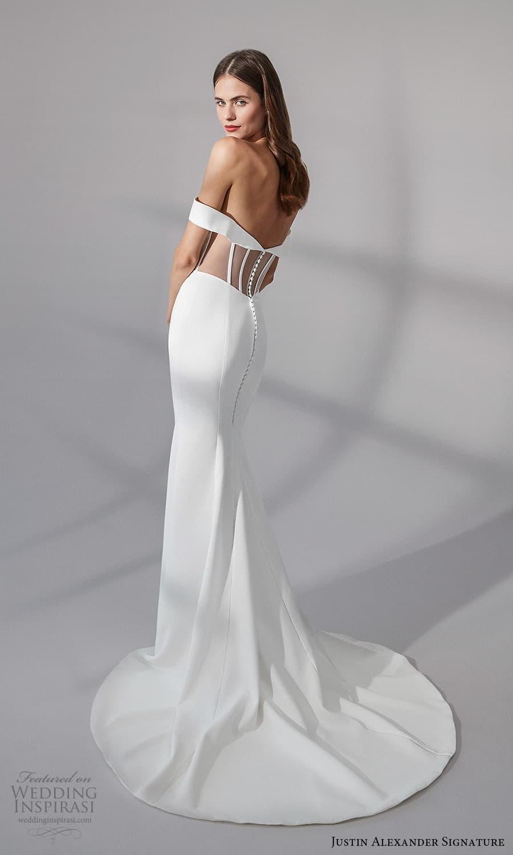 justin alexander signature fall 2021 bridal off shoulder straps sweetheart neckline clean minimalist sheath wedding dress chapel train sheer back (8) bv