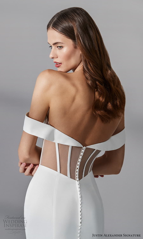 justin alexander signature fall 2021 bridal off shoulder straps sweetheart neckline clean minimalist sheath wedding dress chapel train sheer back (8) zbv