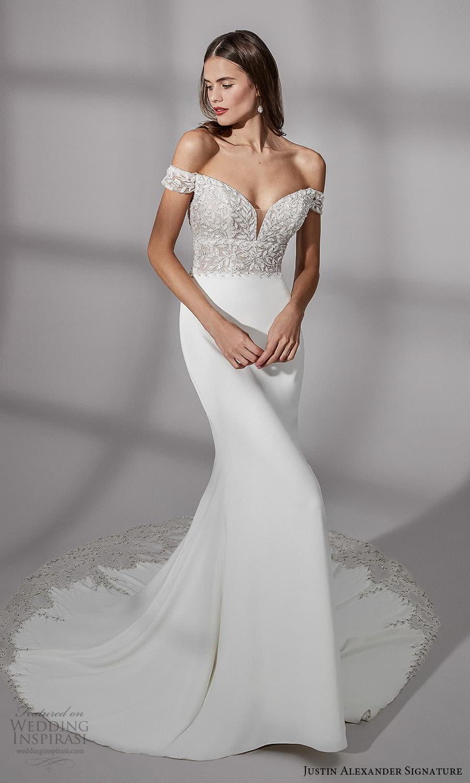 justin alexander signature fall 2021 bridal off shoulder straps sweetheart neckline embellished bodice clean skirt sheath wedding dress chapel train (19) mv