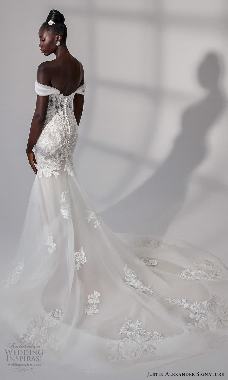justin alexander signature fall 2021 bridal off shoulder straps sweetheart neckline heavily embellished bodice fit flare mermaid wedding dress chapel train (13) bv