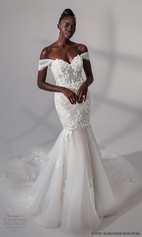 justin alexander signature fall 2021 bridal off shoulder straps sweetheart neckline heavily embellished bodice fit flare mermaid wedding dress chapel train (13) mv