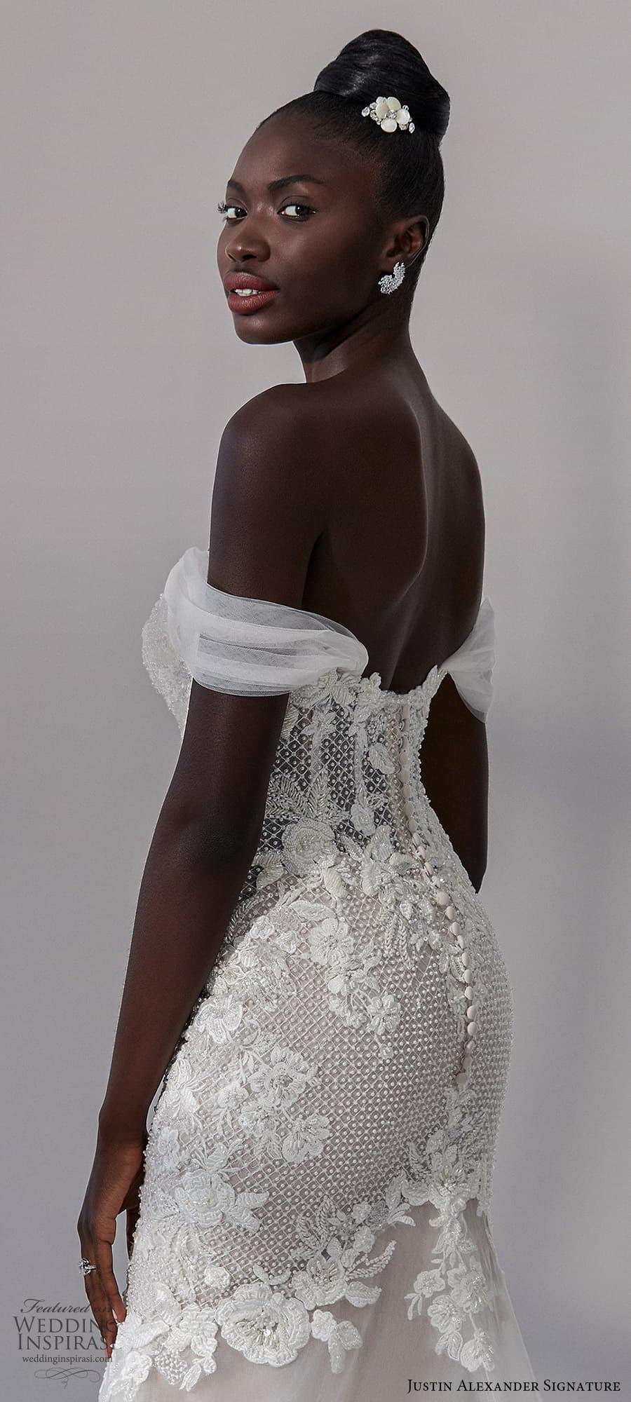 justin alexander signature fall 2021 bridal off shoulder straps sweetheart neckline heavily embellished bodice fit flare mermaid wedding dress chapel train (13) zbv
