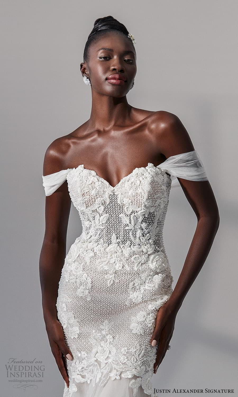 justin alexander signature fall 2021 bridal off shoulder straps sweetheart neckline heavily embellished bodice fit flare mermaid wedding dress chapel train (13) zv