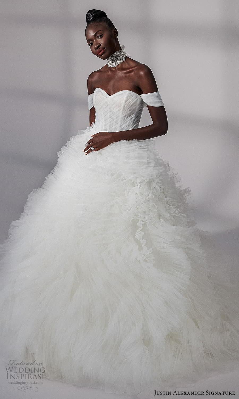 justin alexander signature fall 2021 bridal off shoulder straps sweetheart neckline ruched bodice ruffle skirt a line ball gown wedding dress chapel train (17) mv