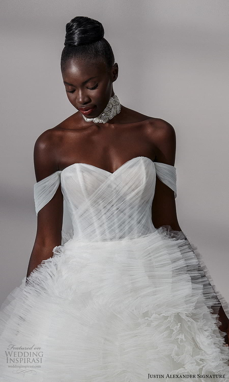 justin alexander signature fall 2021 bridal off shoulder straps sweetheart neckline ruched bodice ruffle skirt a line ball gown wedding dress chapel train (17) zv