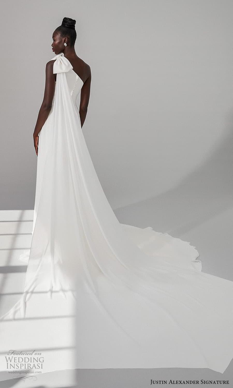 justin alexander signature fall 2021 bridal sleeveless one shoulder straps asymmetric neckline clean minimalist a line wedding dress slit skirt chapel train (3) bv