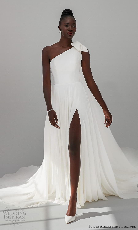 justin alexander signature fall 2021 bridal sleeveless one shoulder straps asymmetric neckline clean minimalist a line wedding dress slit skirt chapel train (3) mv