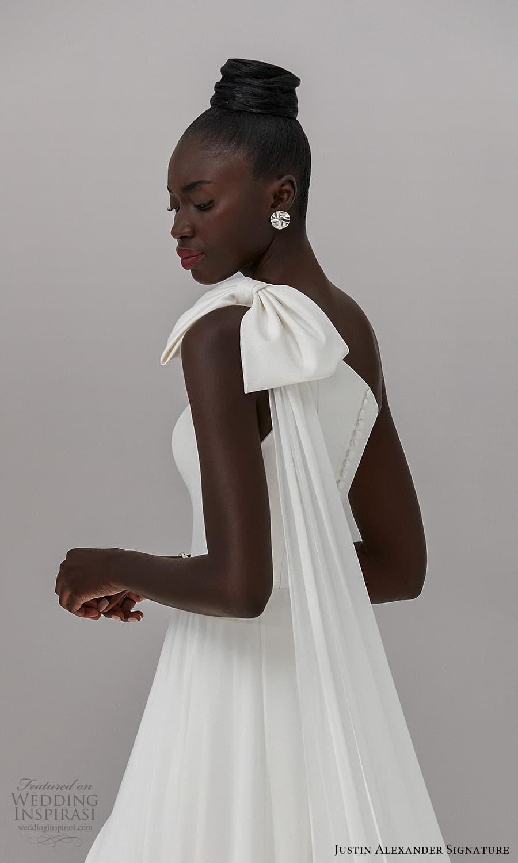 justin alexander signature fall 2021 bridal sleeveless one shoulder straps asymmetric neckline clean minimalist a line wedding dress slit skirt chapel train (3) zbv