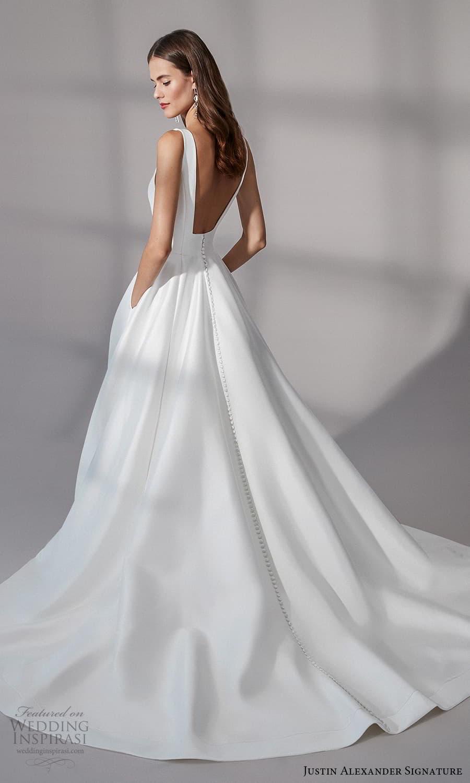 justin alexander signature fall 2021 bridal sleeveless straps square neckline clean minimalist a line ball gown wedding dress chapel train (10) bv